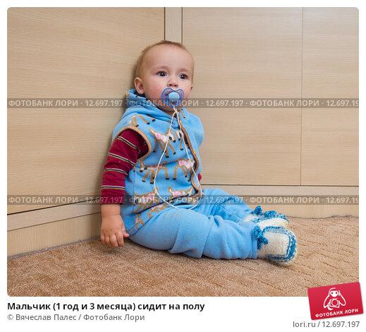 Купить «Мальчик (1 год и 3 месяца) сидит на полу», эксклюзивное фото № 12697197, снято 7 сентября 2015 г. (c) Вячеслав Палес / Фотобанк Лори