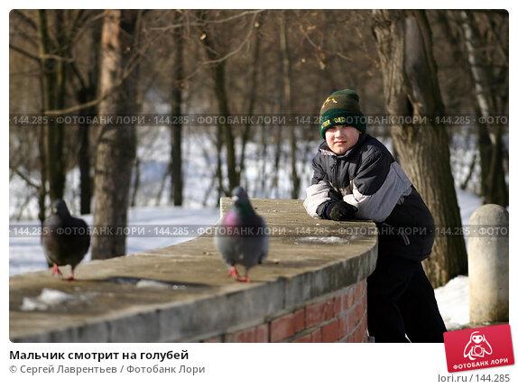 Мальчик смотрит на голубей, фото № 144285, снято 12 марта 2004 г. (c) Сергей Лаврентьев / Фотобанк Лори