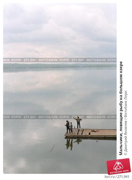 Мальчики, ловящие рыбу на большом озере, фото № 271941, снято 24 июля 2017 г. (c) Дмитрий Яковлев / Фотобанк Лори