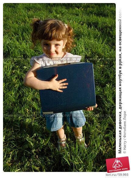 Маленькая девочка, держащая ноутбук в руках, на освещенной солнцем травке, фото № 59993, снято 22 мая 2006 г. (c) Harry / Фотобанк Лори