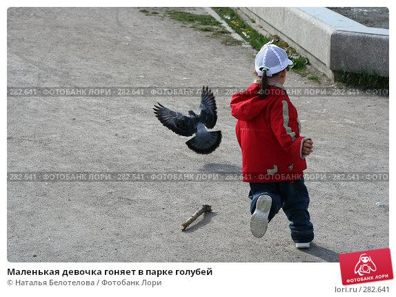 Маленькая девочка гоняет в парке голубей, фото № 282641, снято 10 мая 2008 г. (c) Наталья Белотелова / Фотобанк Лори