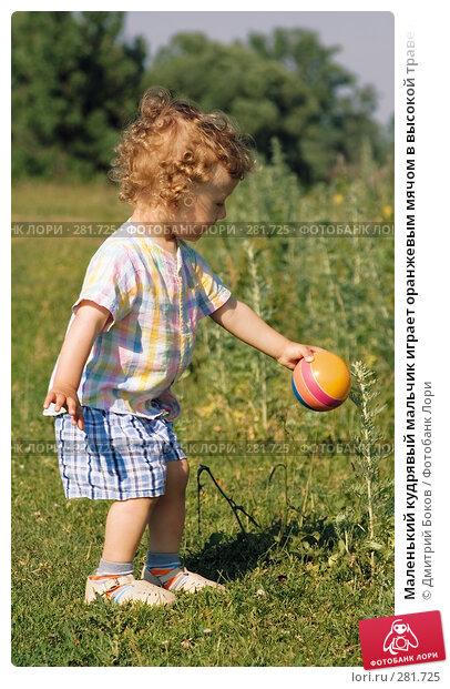 Маленький кудрявый мальчик играет оранжевым мячом в высокой траве на опушке леса, фото № 281725, снято 25 июня 2006 г. (c) Дмитрий Боков / Фотобанк Лори