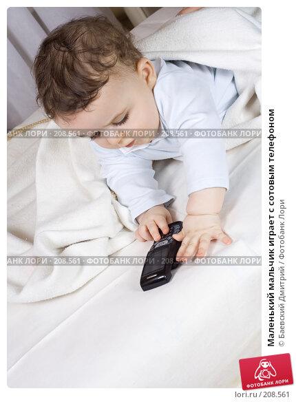 Купить «Маленький мальчик играет с сотовым телефоном», фото № 208561, снято 21 апреля 2018 г. (c) Баевский Дмитрий / Фотобанк Лори