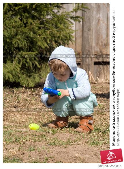 Маленький мальчик в голубом комбинезоне с цветной игрушкой на фоне хвойного дерева, фото № 258813, снято 20 апреля 2008 г. (c) Дмитрий Боков / Фотобанк Лори