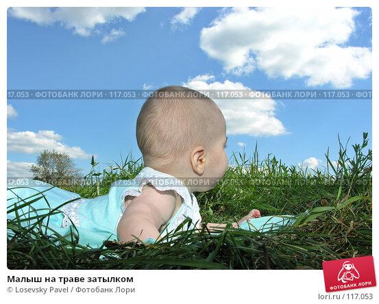 Малыш на траве затылком, фото № 117053, снято 4 августа 2005 г. (c) Losevsky Pavel / Фотобанк Лори