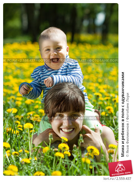 Купить «Мама и ребенок в поле с одуванчиками», фото № 2559437, снято 19 мая 2011 г. (c) Яков Филимонов / Фотобанк Лори