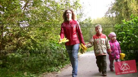 Купить «Мама с детьми гуляет по осеннему парку», видеоролик № 3528717, снято 4 августа 2009 г. (c) Losevsky Pavel / Фотобанк Лори