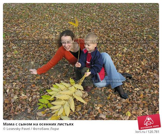 Мама с сыном на осенних листьях, фото № 120781, снято 24 сентября 2005 г. (c) Losevsky Pavel / Фотобанк Лори