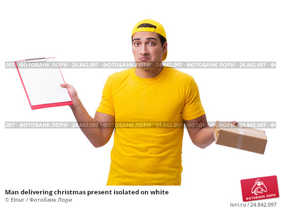 Купить «Man delivering christmas present isolated on white», фото № 24842097, снято 31 октября 2016 г. (c) Elnur / Фотобанк Лори