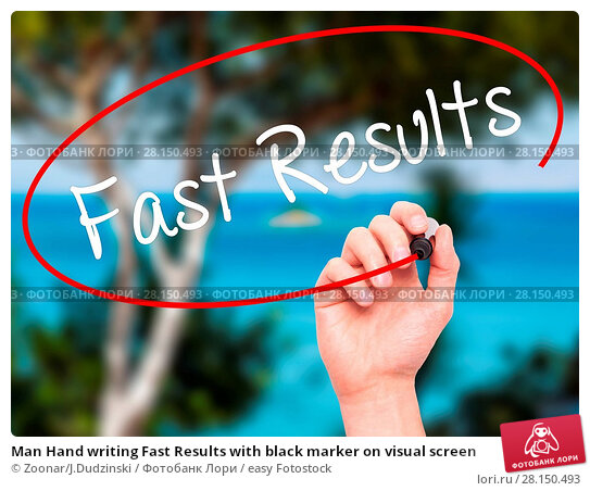 Купить «Man Hand writing Fast Results with black marker on visual screen», фото № 28150493, снято 21 июня 2018 г. (c) easy Fotostock / Фотобанк Лори