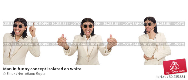 Купить «Man in funny concept isolated on white», фото № 30235881, снято 30 апреля 2015 г. (c) Elnur / Фотобанк Лори