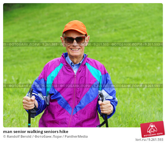 man senior walking seniors hike. Стоковое фото, фотограф Randolf Berold / PantherMedia / Фотобанк Лори