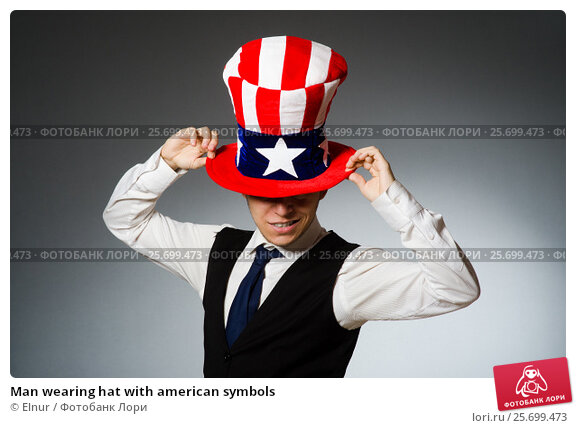 Man wearing hat with american symbols, фото № 25699473, снято 26 марта 2014 г. (c) Elnur / Фотобанк Лори