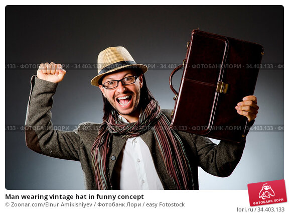Man wearing vintage hat in funny concept. Стоковое фото, фотограф Zoonar.com/Elnur Amikishiyev / easy Fotostock / Фотобанк Лори