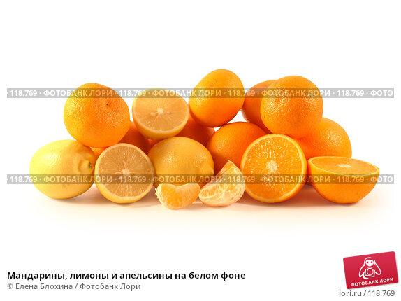 Мандарины, лимоны и апельсины на белом фоне, фото № 118769, снято 7 ноября 2007 г. (c) Елена Блохина / Фотобанк Лори