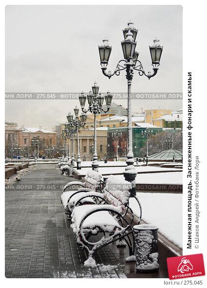Манежная площадь. Заснеженные фонари и скамьи, фото № 275045, снято 30 октября 2006 г. (c) Шахов Андрей / Фотобанк Лори