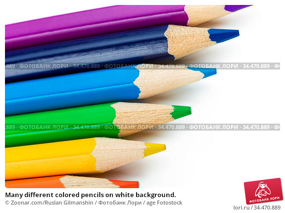 Many different colored pencils on white background. Стоковое фото, фотограф Zoonar.com/Ruslan Gilmanshin / age Fotostock / Фотобанк Лори