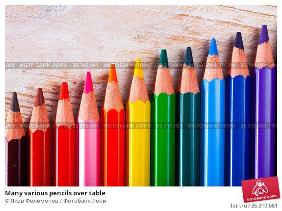 Many various pencils over table. Стоковое фото, фотограф Яков Филимонов / Фотобанк Лори
