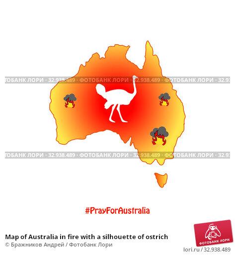 Map of Australia in fire with a silhouette of ostrich. Стоковая иллюстрация, иллюстратор Бражников Андрей / Фотобанк Лори