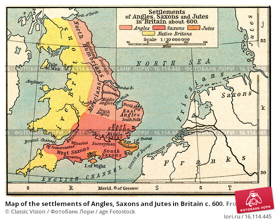 Купить «Map of the settlements of Angles, Saxons and Jutes in Britain c. 600. From Historical Atlas, published 1923.», фото № 16114445, снято 23 сентября 2018 г. (c) age Fotostock / Фотобанк Лори