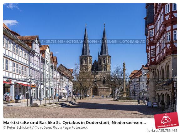 Marktstraße und Basilika St. Cyriakus in Duderstadt, Niedersachsen... Стоковое фото, фотограф Peter Schickert / age Fotostock / Фотобанк Лори