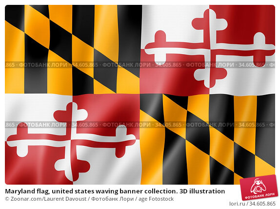 Maryland flag, united states waving banner collection. 3D illustration. Стоковое фото, фотограф Zoonar.com/Laurent Davoust / age Fotostock / Фотобанк Лори