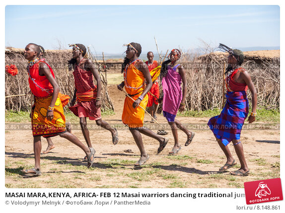 Купить «MASAI MARA,KENYA, AFRICA- FEB 12 Masai warriors dancing traditional jumps as cultural ceremony,review of daily life of local people,near to Masai Mara National Park Reserve, Feb 12, 2010», фото № 8148861, снято 5 июля 2020 г. (c) PantherMedia / Фотобанк Лори