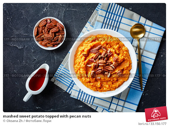 Купить «mashed sweet potato topped with pecan nuts», фото № 33150177, снято 21 ноября 2019 г. (c) Oksana Zh / Фотобанк Лори