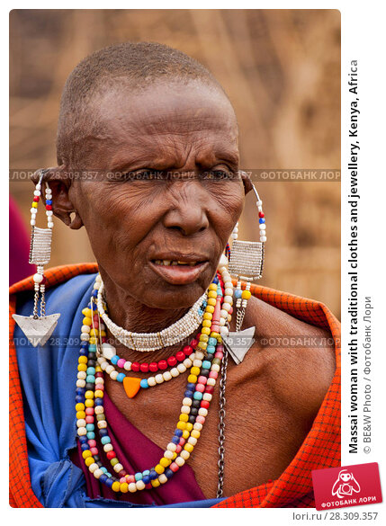 Купить «Massai woman with traditional clothes and jewellery, Kenya, Africa», фото № 28309357, снято 21 апреля 2018 г. (c) BE&W Photo / Фотобанк Лори
