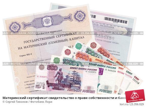 Купить «Материнский сертификат свидетельство о праве собственности и банкноты», фото № 23356029, снято 24 марта 2019 г. (c) Сергей Тихонов / Фотобанк Лори