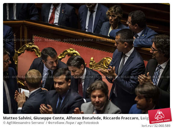 Matteo Salvini, Giuseppe Conte, Alfonso Bonafede, Riccardo Fraccaro, Luigi Di Maio. (2019 год). Редакционное фото, фотограф Agf/Alessandro Serrano' / age Fotostock / Фотобанк Лори