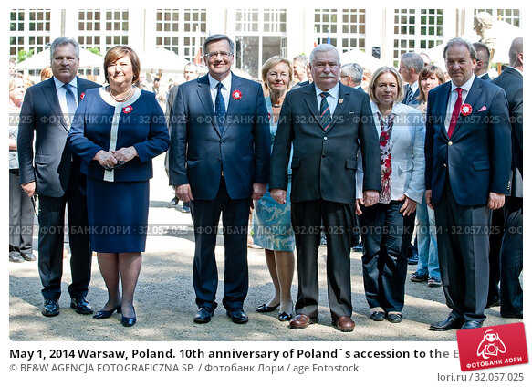 May 1, 2014 Warsaw, Poland. 10th anniversary of Poland`s accession to the European Union. Pictured: Bronislaw Komorowski and his wife Anna Komorowska,... Редакционное фото, фотограф BE&W AGENCJA FOTOGRAFICZNA SP. / age Fotostock / Фотобанк Лори