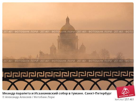 Меандр парапета и Исаакиевский собор в тумане. Санкт-Петербург, эксклюзивное фото № 257461, снято 10 марта 2006 г. (c) Александр Алексеев / Фотобанк Лори