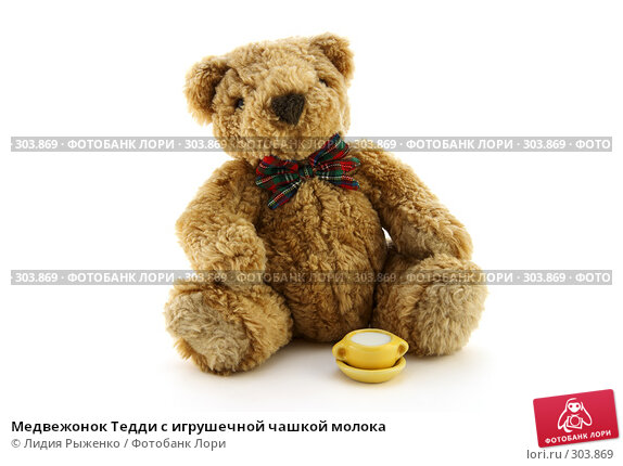 Купить «Медвежонок Тедди с игрушечной чашкой молока», фото № 303869, снято 16 мая 2008 г. (c) Лидия Рыженко / Фотобанк Лори