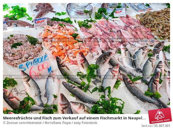 Meeresfrüchte und Fisch zum Verkauf auf einem Fischmarkt in Neapel... Стоковое фото, фотограф Zoonar.com/elxeneize / easy Fotostock / Фотобанк Лори