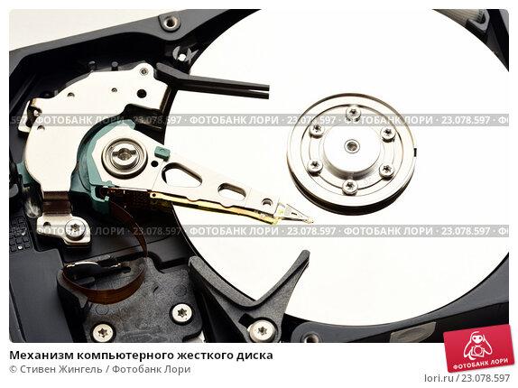Купить «Механизм компьютерного жесткого диска», фото № 23078597, снято 9 июня 2016 г. (c) Стивен Жингель / Фотобанк Лори