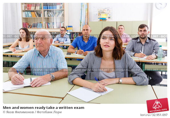 Men and women ready take a written exam. Стоковое фото, фотограф Яков Филимонов / Фотобанк Лори
