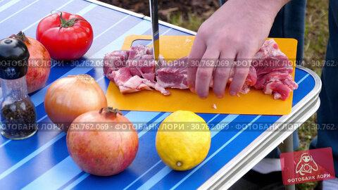 Купить «Men slicing meat for BBQ», видеоролик № 30762069, снято 1 мая 2019 г. (c) Игорь Жоров / Фотобанк Лори