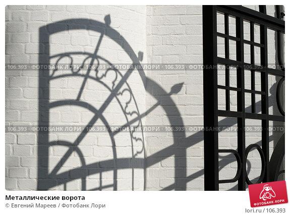 Купить «Металлические ворота», фото № 106393, снято 29 сентября 2007 г. (c) Евгений Мареев / Фотобанк Лори