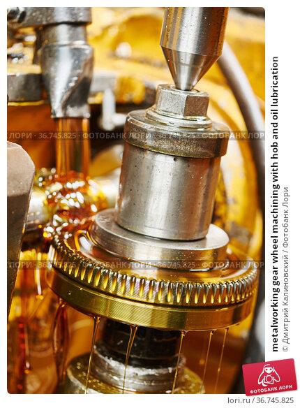 metalworking gear wheel machining with hob and oil lubrication. Стоковое фото, фотограф Дмитрий Калиновский / Фотобанк Лори