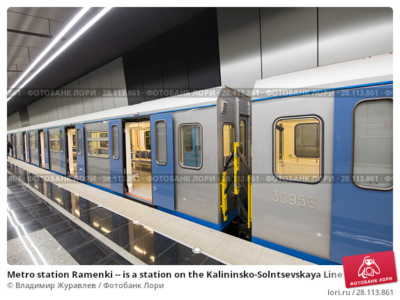 Купить «Metro station Ramenki -- is a station on the Kalininsko-Solntsevskaya Line of the Moscow Metro, Russia. It opened on 16 March 2017.», фото № 28113861, снято 3 марта 2018 г. (c) Владимир Журавлев / Фотобанк Лори