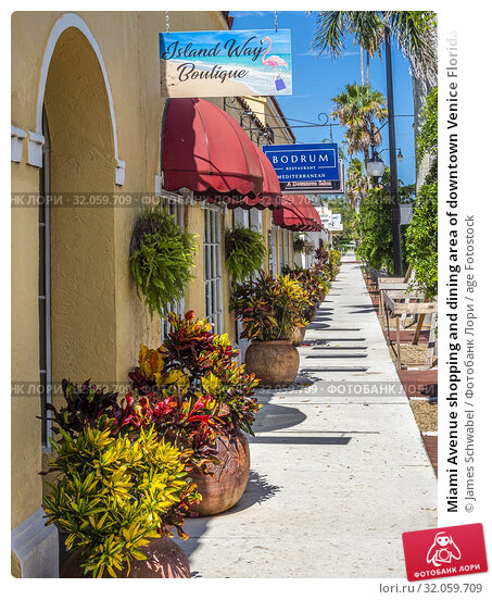 Miami Avenue shopping and dining area of downtown Venice Florida in the United DStates. Стоковое фото, фотограф James Schwabel / age Fotostock / Фотобанк Лори