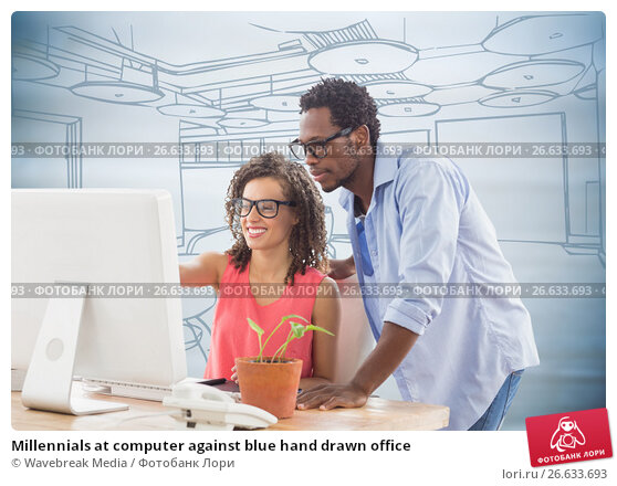 Купить «Millennials at computer against blue hand drawn office», фото № 26633693, снято 22 ноября 2019 г. (c) Wavebreak Media / Фотобанк Лори