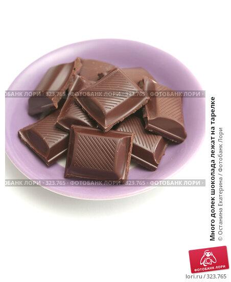 Купить «Много долек шоколада лежат на тарелке», фото № 323765, снято 21 ноября 2007 г. (c) Останина Екатерина / Фотобанк Лори