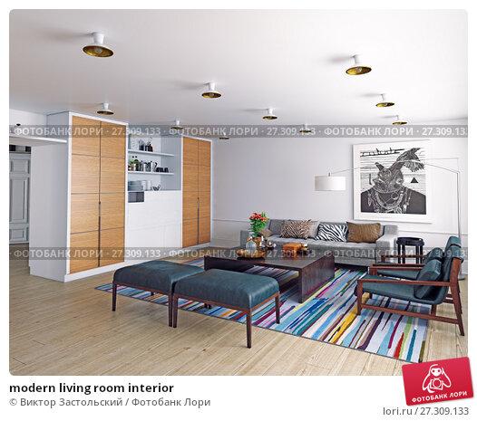 Купить «modern living room interior», фото № 27309133, снято 19 января 2018 г. (c) Виктор Застольский / Фотобанк Лори