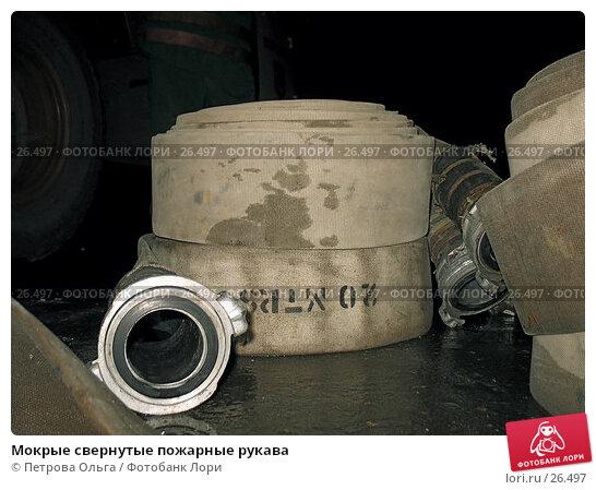 Купить «Мокрые свернутые пожарные рукава», фото № 26497, снято 22 марта 2007 г. (c) Петрова Ольга / Фотобанк Лори