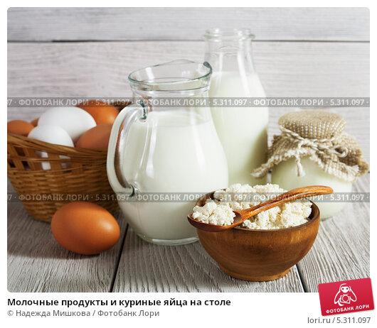 Купить «Молочные продукты и куриные яйца на столе», фото № 5311097, снято 27 ноября 2013 г. (c) Надежда Мишкова / Фотобанк Лори