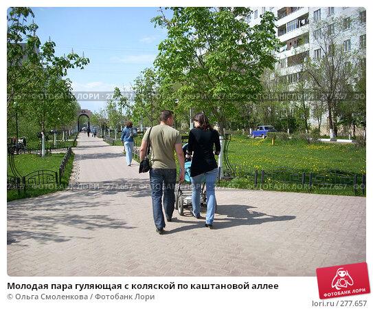 Молодая пара гуляющая с коляской по каштановой аллее, фото № 277657, снято 5 мая 2008 г. (c) Ольга Смоленкова / Фотобанк Лори