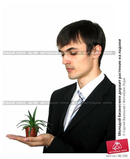 Купить «Молодой бизнесмен держит растение на ладони», фото № 46109, снято 13 мая 2007 г. (c) Сергей Васильев / Фотобанк Лори