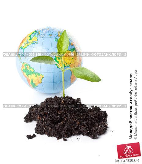 Молодой росток и глобус земли, фото № 335849, снято 28 мая 2008 г. (c) Мельников Дмитрий / Фотобанк Лори